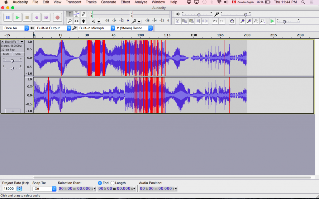 audacity sound program user interface screen shot